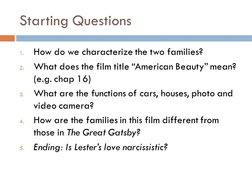 Starting Questions 1. How do we characterize the two families.