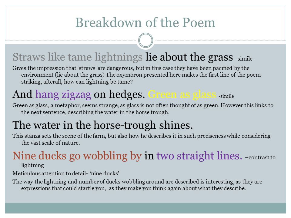 Breakdown of the Poem Straws like tame lightnings lie about the grass -simile Gives the impression that straws are dangerous, but in this case they ha