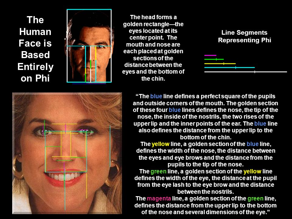 The blue line defines a perfect square of the pupils and outside corners of the mouth. The golden section of these four blue lines defines the nose, t