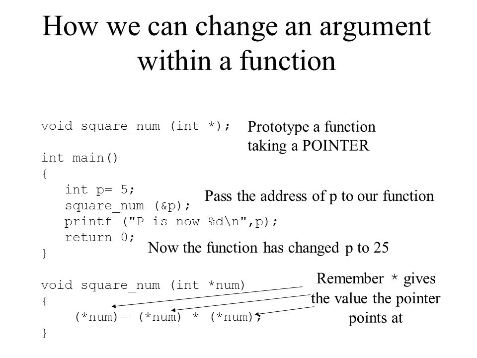 How we can change an argument within a function void square_num (int *); int main() { int p= 5; square_num (&p); printf (