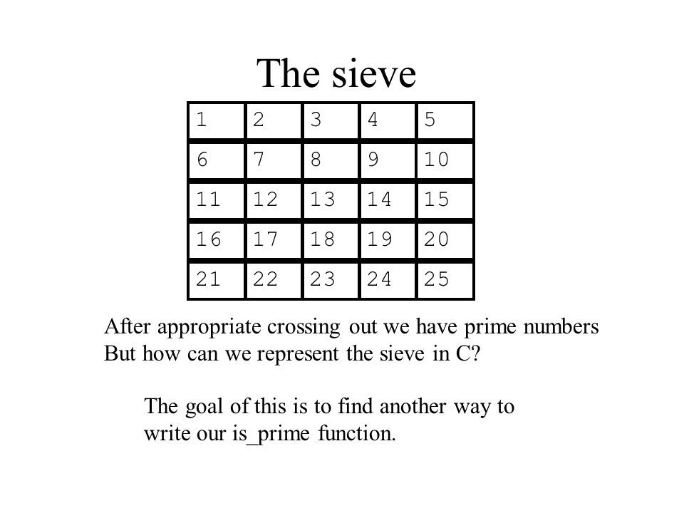 The sieve 12345 678910 1112131415 1617181920 2122232425 After appropriate crossing out we have prime numbers But how can we represent the sieve in C?