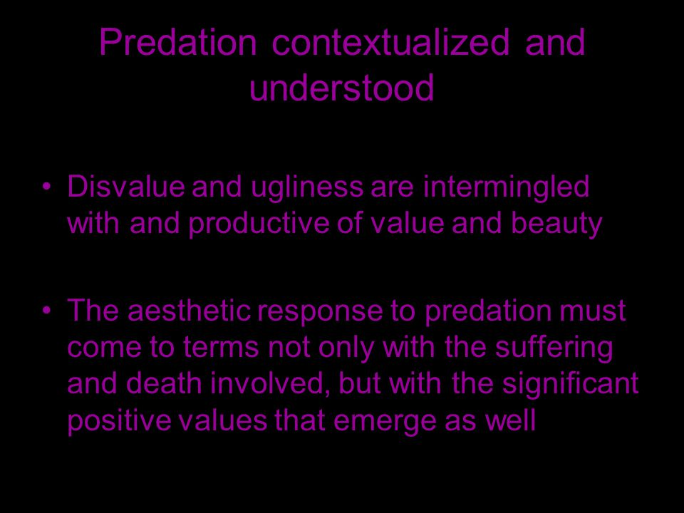 Predation contextualized and understood Disvalue and ugliness are intermingled with and productive of value and beauty The aesthetic response to predation must come to terms not only with the suffering and death involved, but with the significant positive values that emerge as well