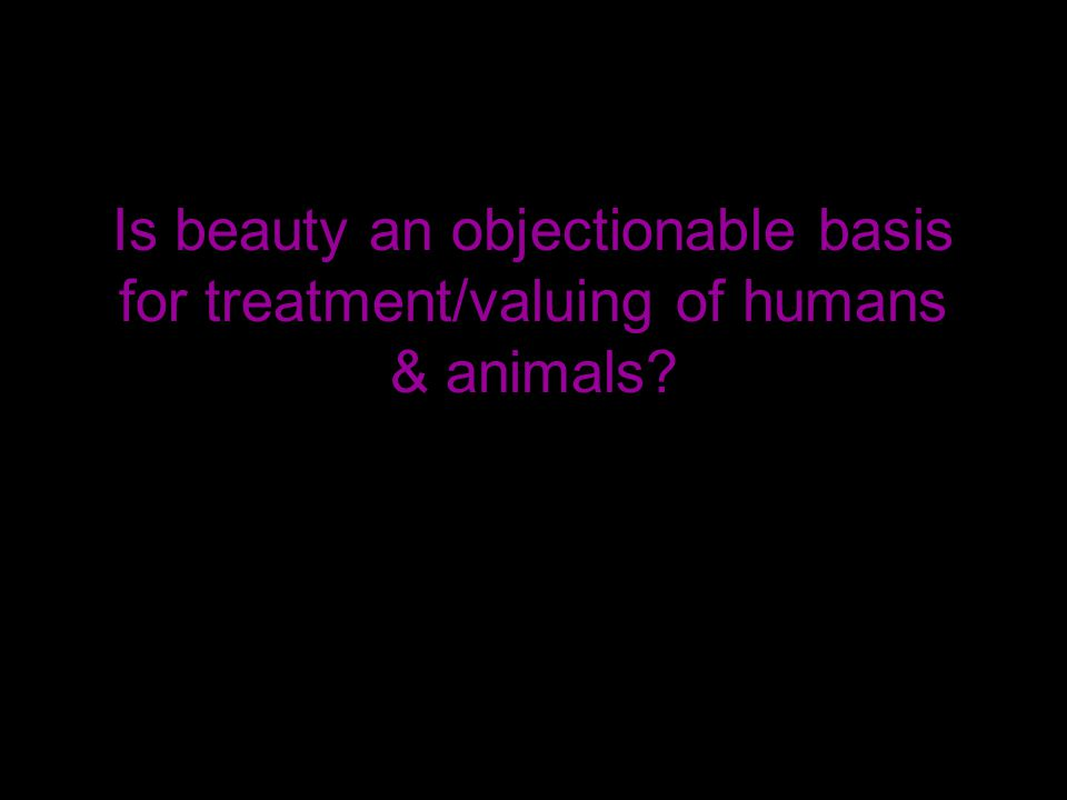 Is beauty an objectionable basis for treatment/valuing of humans & animals
