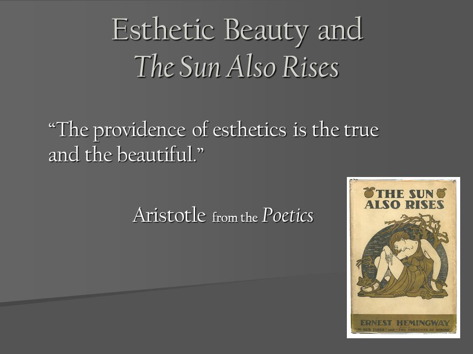 Esthetic Beauty and The Sun Also Rises The providence of esthetics is the true and the beautiful. Aristotle from the Poetics
