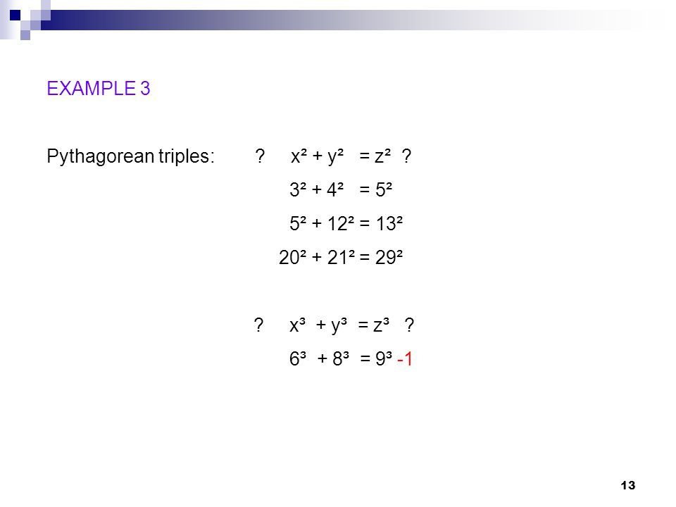 14 Fermats Last Theorem (1637): For n = 3, 4, 5,…, there are no integer solutions to the Pythagorean equation.