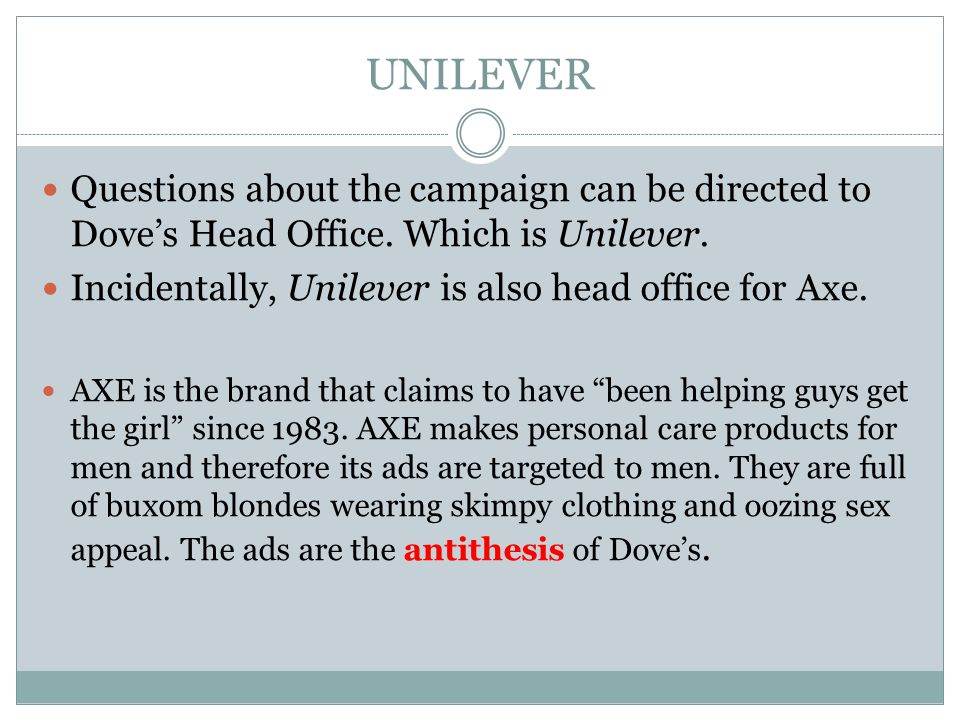 UNILEVER Questions about the campaign can be directed to Doves Head Office. Which is Unilever. Incidentally, Unilever is also head office for Axe. AXE