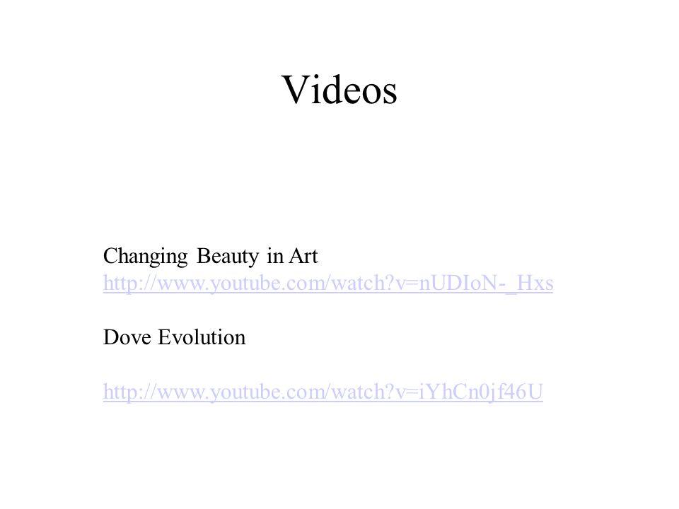 Changing Beauty in Art http://www.youtube.com/watch?v=nUDIoN-_Hxs Dove Evolution http://www.youtube.com/watch?v=iYhCn0jf46U Videos