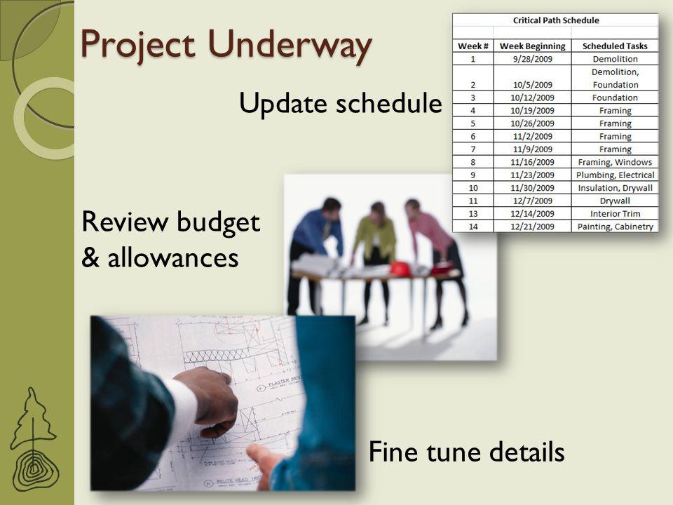 Project Underway Update schedule Fine tune details Review budget & allowances