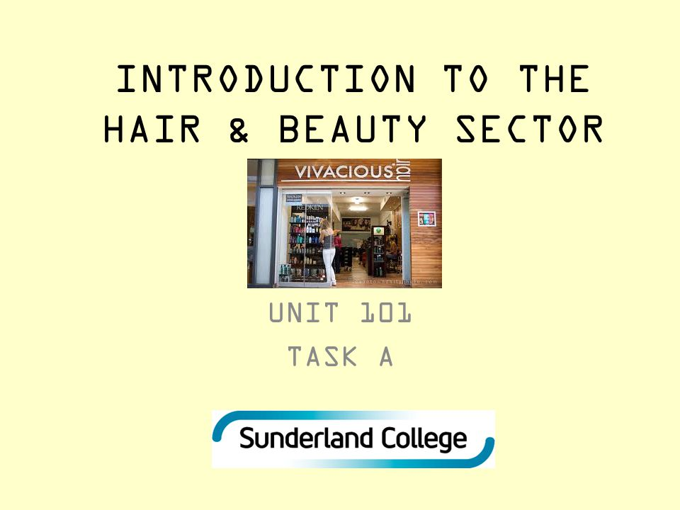 INTRODUCTION TO THE HAIR & BEAUTY SECTOR UNIT 101 TASK A
