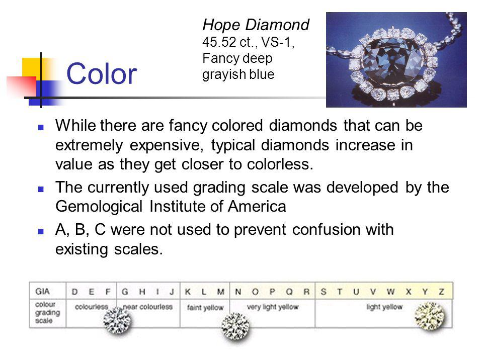 Color While there are fancy colored diamonds that can be extremely expensive, typical diamonds increase in value as they get closer to colorless.