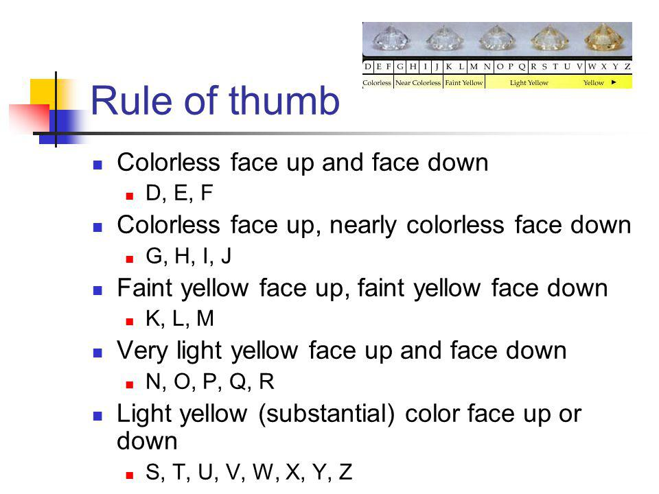 Rule of thumb Colorless face up and face down D, E, F Colorless face up, nearly colorless face down G, H, I, J Faint yellow face up, faint yellow face down K, L, M Very light yellow face up and face down N, O, P, Q, R Light yellow (substantial) color face up or down S, T, U, V, W, X, Y, Z