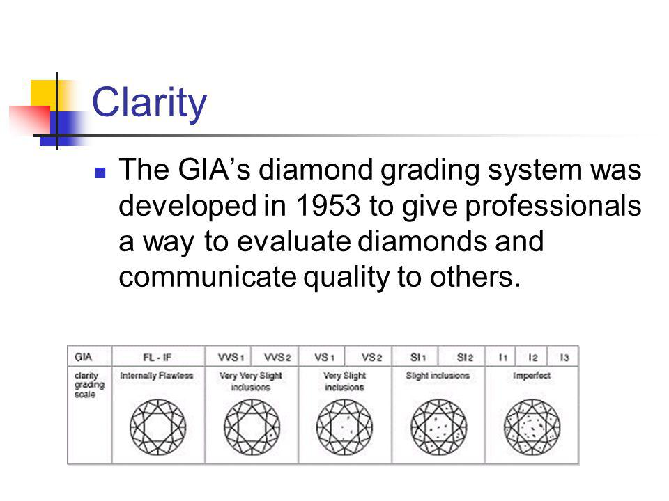 Clarity The GIAs diamond grading system was developed in 1953 to give professionals a way to evaluate diamonds and communicate quality to others.