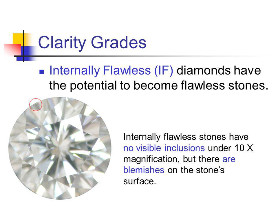 Clarity Grades Internally Flawless (IF) diamonds have the potential to become flawless stones.