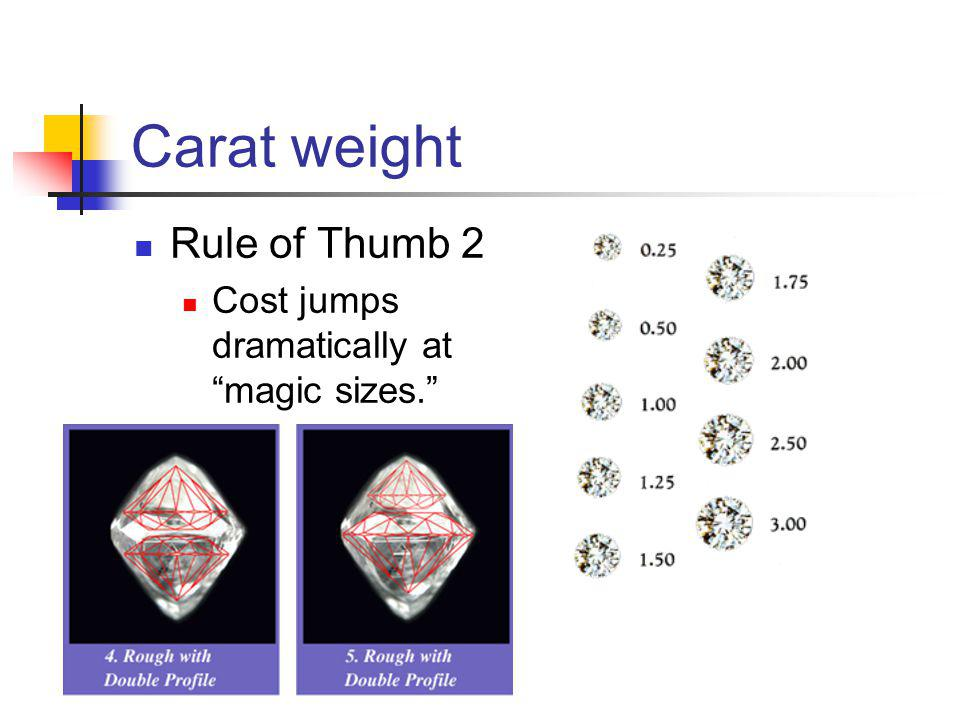 Carat weight Rule of Thumb 2 Cost jumps dramatically at magic sizes.