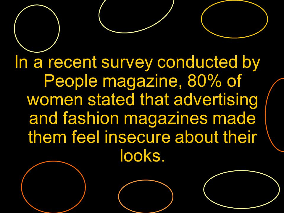 In a recent survey conducted by People magazine, 80% of women stated that advertising and fashion magazines made them feel insecure about their looks.