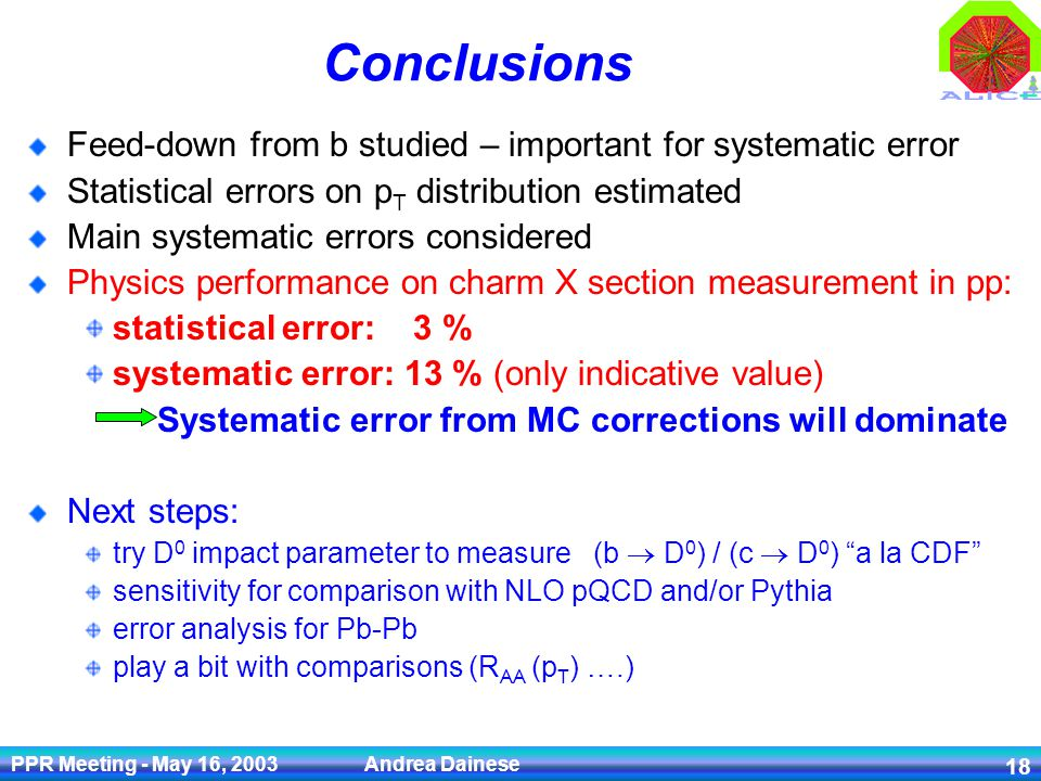 PPR Meeting - May 16, 2003 Andrea Dainese 18 Conclusions Feed-down from b studied – important for systematic error Statistical errors on p T distribution estimated Main systematic errors considered Physics performance on charm X section measurement in pp: statistical error: 3 % systematic error: 13 % (only indicative value) Systematic error from MC corrections will dominate Next steps: try D 0 impact parameter to measure (b D 0 ) / (c D 0 ) a la CDF sensitivity for comparison with NLO pQCD and/or Pythia error analysis for Pb-Pb play a bit with comparisons (R AA (p T ) ….)
