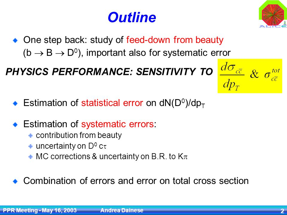 PPR Meeting - May 16, 2003 Andrea Dainese 2 Outline One step back: study of feed-down from beauty (b B D 0 ), important also for systematic error Esti
