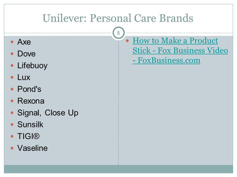 8 Unilever: Personal Care Brands Axe Dove Lifebuoy Lux Pond's Rexona Signal, Close Up Sunsilk TIGI® Vaseline How to Make a Product Stick - Fox Busines