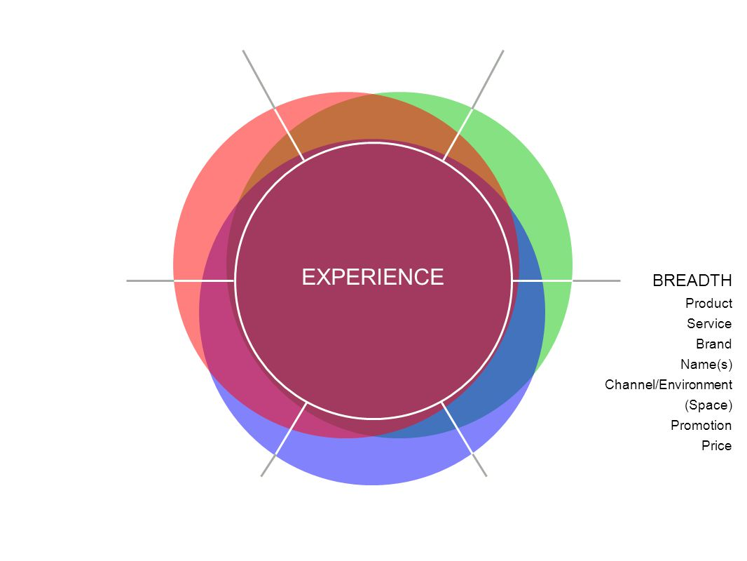 EXPERIENCE BREADTH Product Service Brand Name(s) Channel/Environment (Space) Promotion Price