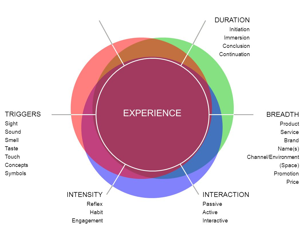 EXPERIENCE BREADTH Product Service Brand Name(s) Channel/Environment (Space) Promotion Price DURATION Initiation Immersion Conclusion Continuation TRIGGERS Sight Sound Smell Taste Touch Concepts Symbols INTENSITY Reflex Habit Engagement INTERACTION Passive Active Interactive