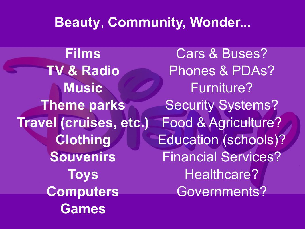 Films TV & Radio Music Theme parks Travel (cruises, etc.) Clothing Souvenirs Toys Computers Games Cars & Buses? Phones & PDAs? Furniture? Security Sys