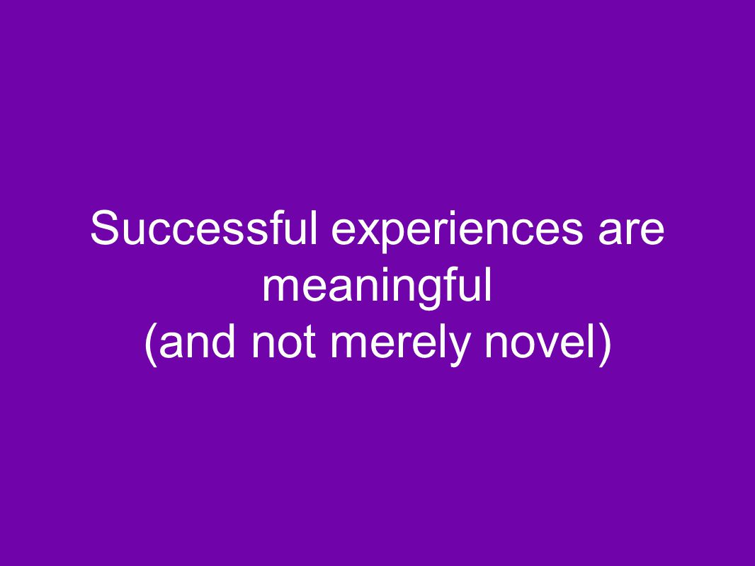 Successful experiences are meaningful (and not merely novel)