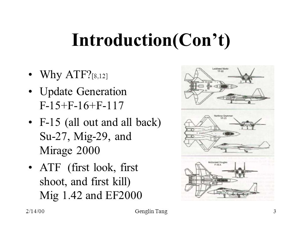 2/14/00Genglin Tang3 Introduction(Cont) Why ATF? [8,12] Update Generation F-15+F-16+F-117 F-15 (all out and all back) Su-27, Mig-29, and Mirage 2000 A