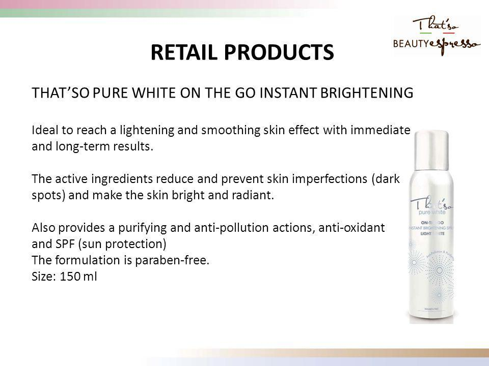 THATSO PURE WHITE ON THE GO INSTANT BRIGHTENING Ideal to reach a lightening and smoothing skin effect with immediate and long-term results.