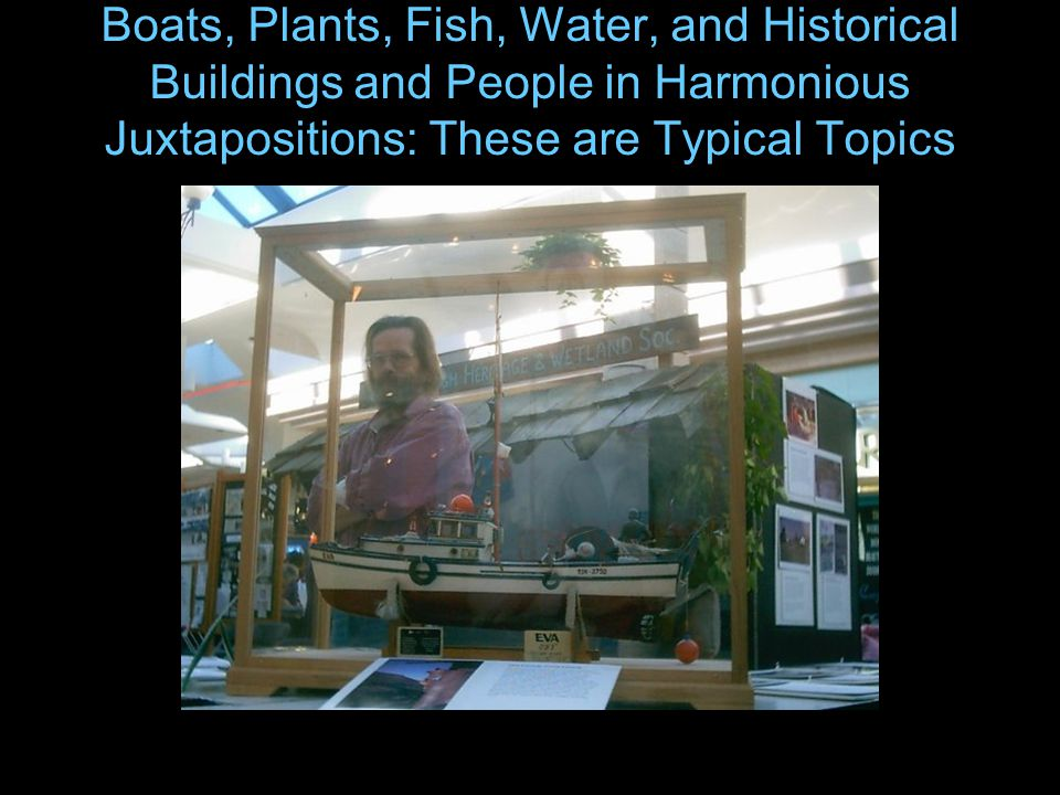 Boats, Plants, Fish, Water, and Historical Buildings and People in Harmonious Juxtapositions: These are Typical Topics
