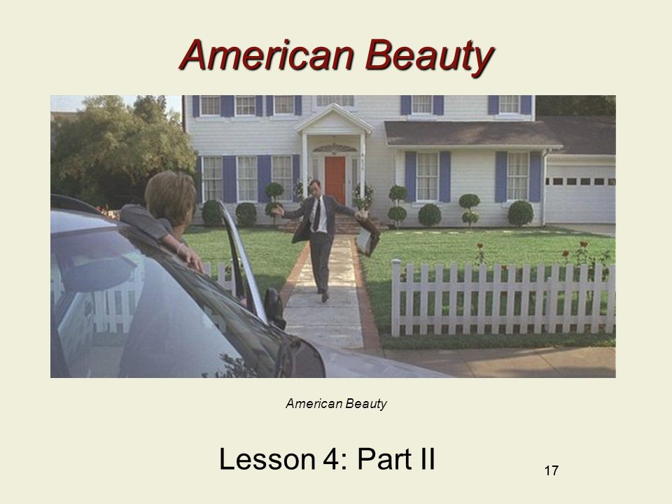 17 American Beauty Lesson 4: Part II American Beauty 17