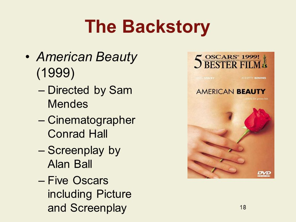 The Backstory American Beauty (1999) –Directed by Sam Mendes –Cinematographer Conrad Hall –Screenplay by Alan Ball –Five Oscars including Picture and