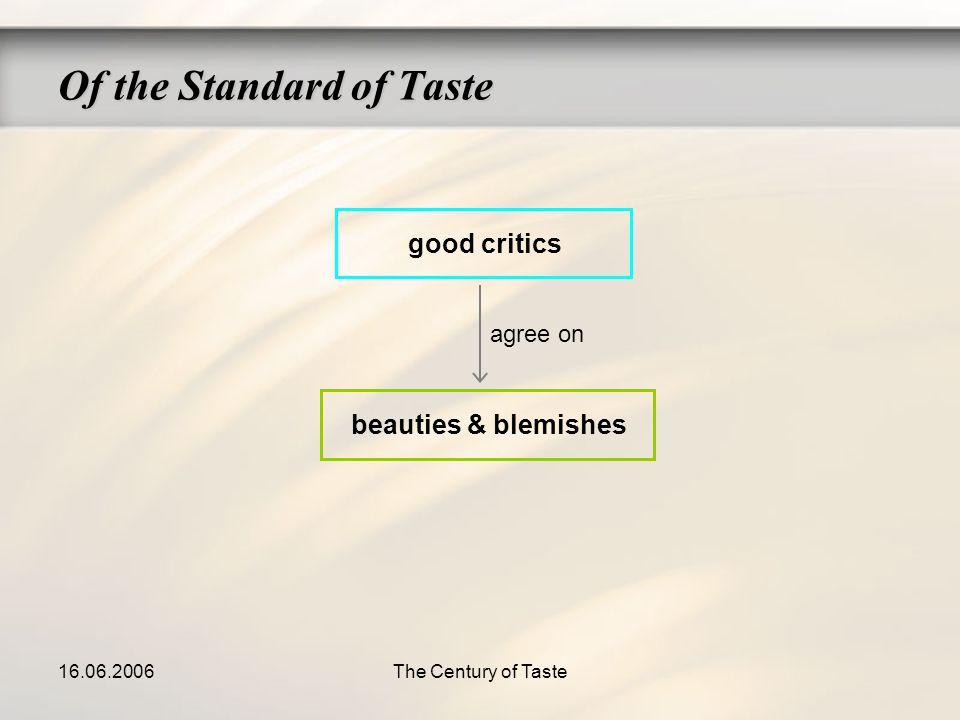 16.06.2006The Century of Taste good critics beauties & blemishes agree on Of the Standard of Taste