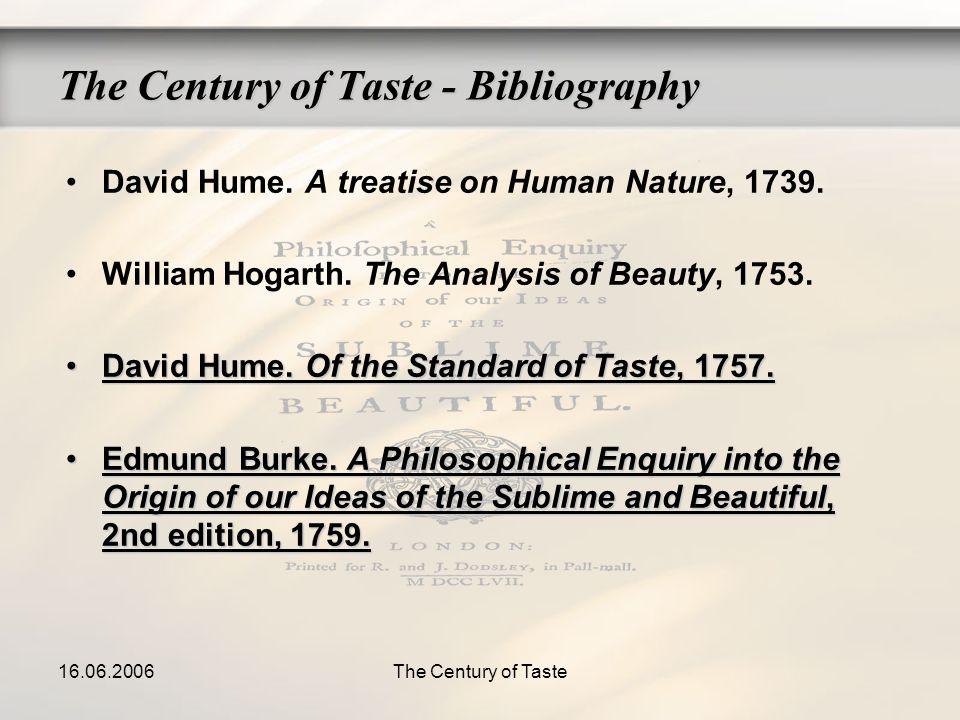 16.06.2006The Century of Taste The Century of Taste - Bibliography David Hume. A treatise on Human Nature, 1739. William Hogarth. The Analysis of Beau