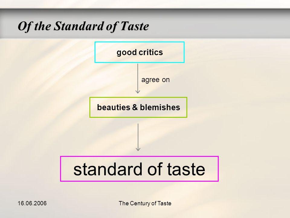 16.06.2006The Century of Taste good critics beauties & blemishes standard of taste agree on Of the Standard of Taste