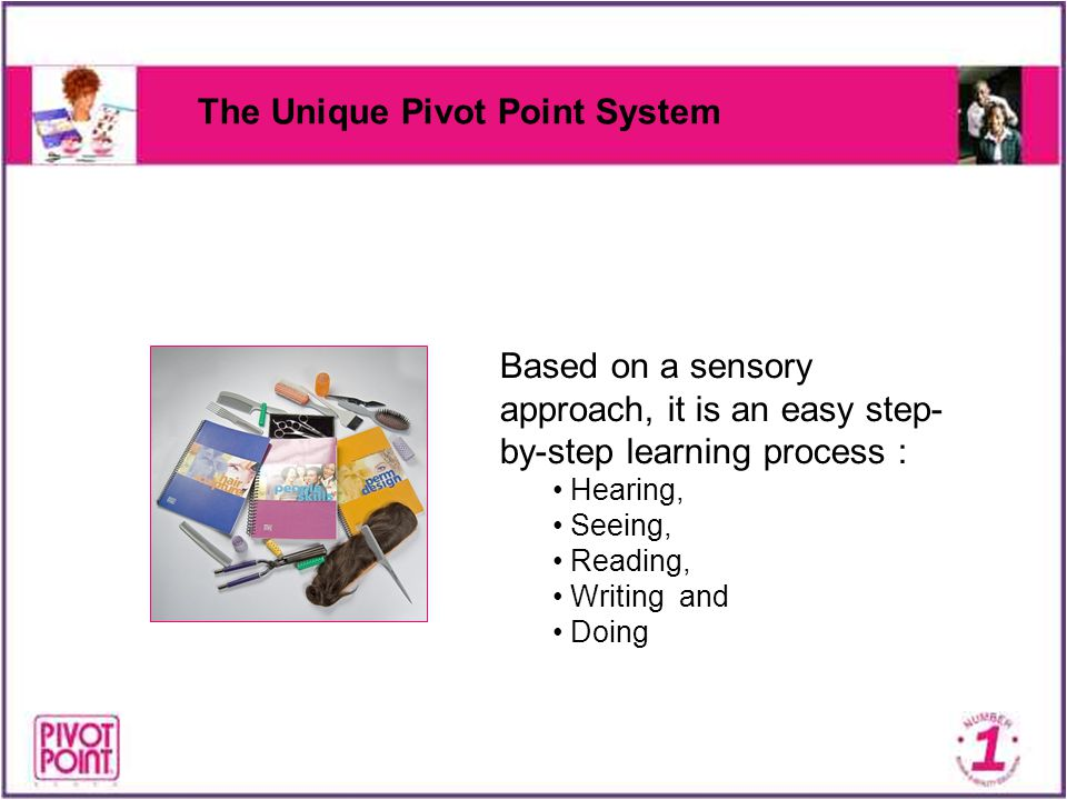 The Unique Pivot Point System Based on a sensory approach, it is an easy step- by-step learning process : Hearing, Seeing, Reading, Writing and Doing