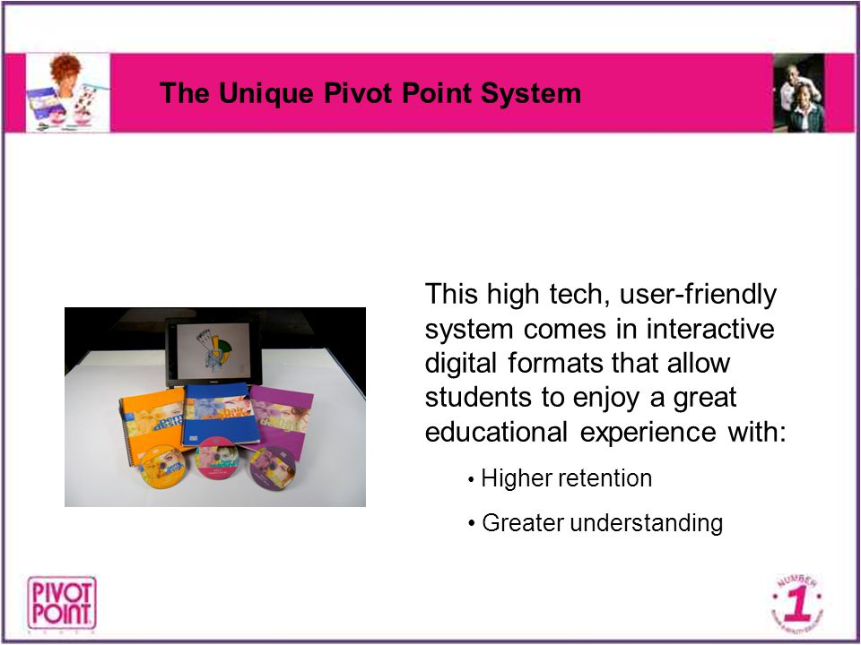 The Unique Pivot Point System This high tech, user-friendly system comes in interactive digital formats that allow students to enjoy a great education
