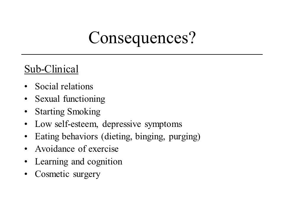Consequences? Sub-Clinical Social relations Sexual functioning Starting Smoking Low self-esteem, depressive symptoms Eating behaviors (dieting, bingin