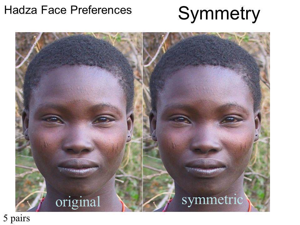 original symmetric Hadza Face Preferences Symmetry 5 pairs