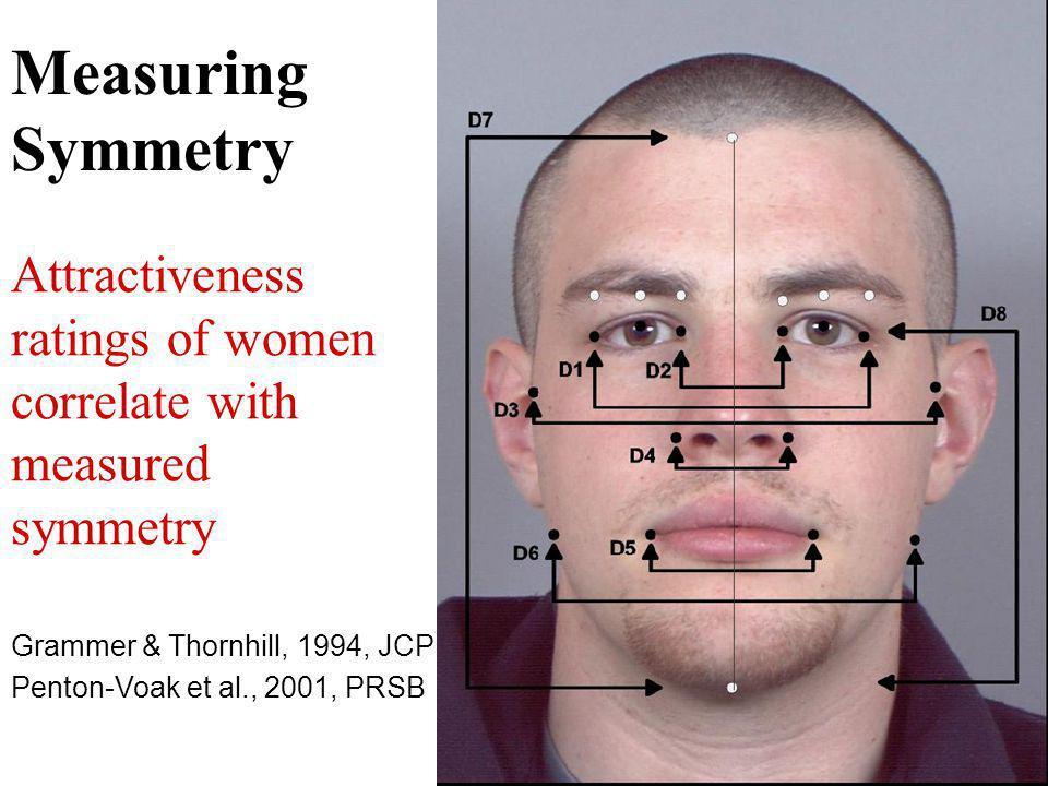 Measuring Symmetry Attractiveness ratings of women correlate with measured symmetry Grammer & Thornhill, 1994, JCP Penton-Voak et al., 2001, PRSB