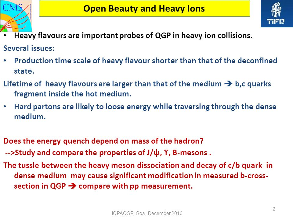 Open Beauty and Heavy Ions Heavy flavours are important probes of QGP in heavy ion collisions.