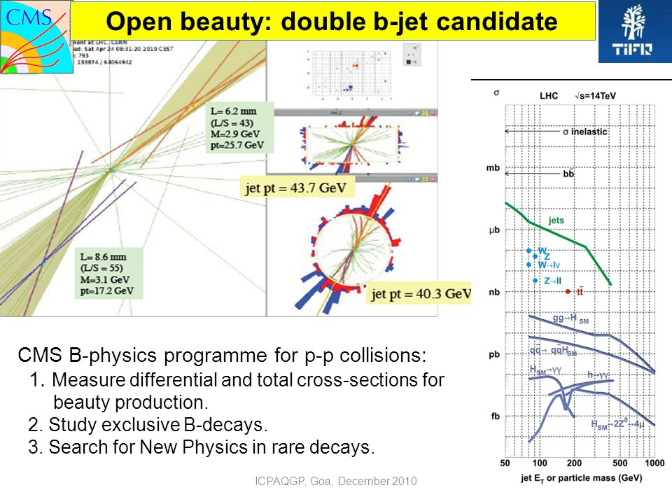 ICPAQGP, Goa, December 20105 Open beauty: double b-jet candidate CMS B-physics programme for p-p collisions: 1.