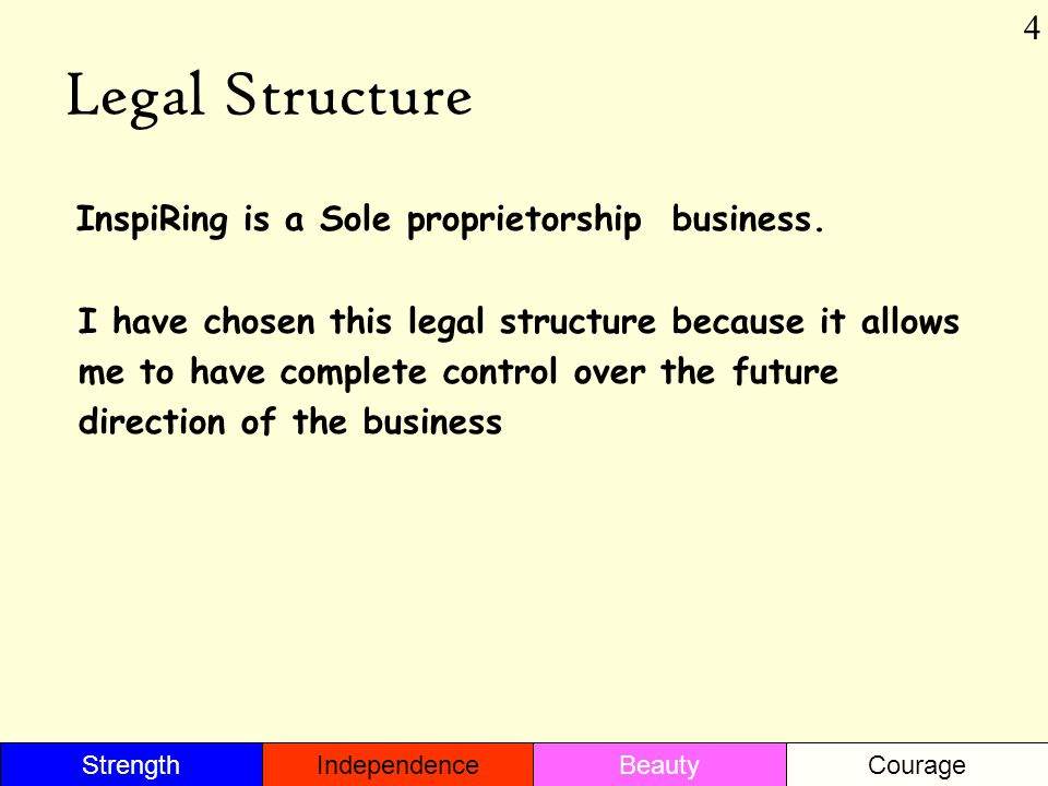 Legal Structure InspiRing is a Sole proprietorship business. I have chosen this legal structure because it allows me to have complete control over the