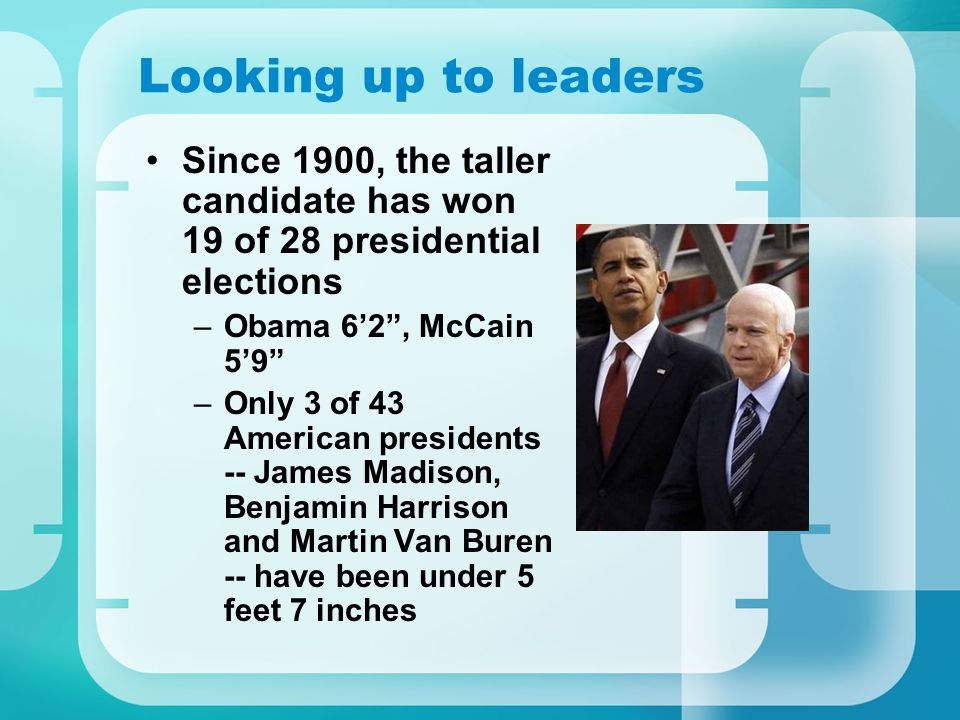 Looking up to leaders Since 1900, the taller candidate has won 19 of 28 presidential elections –Obama 62, McCain 59 –Only 3 of 43 American presidents