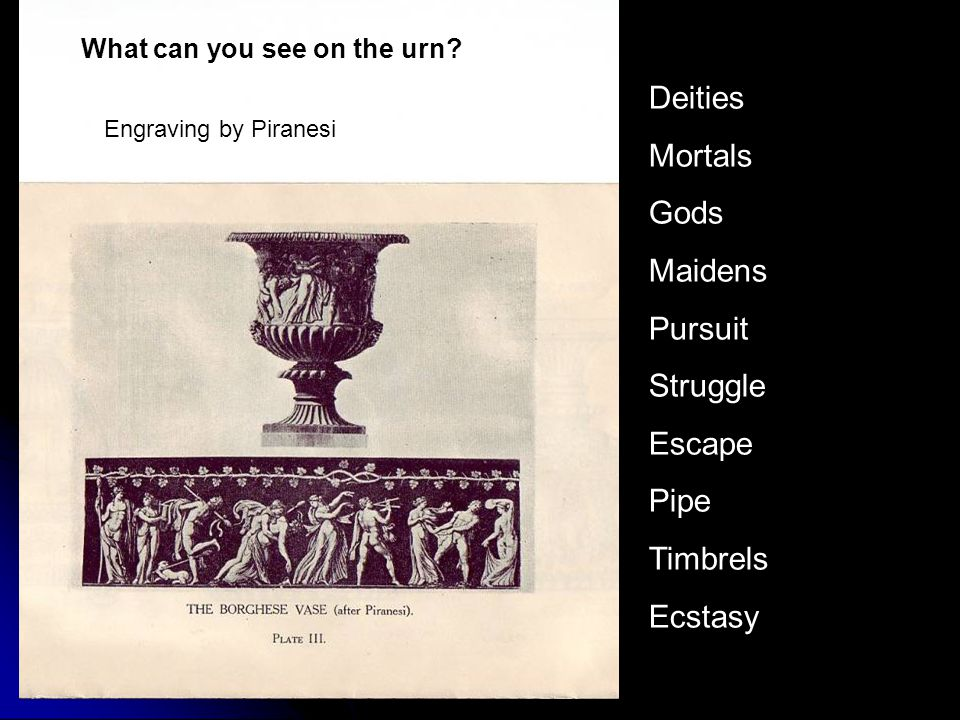 Engraving by Piranesi Deities Mortals Gods Maidens Pursuit Struggle Escape Pipe Timbrels Ecstasy What can you see on the urn?