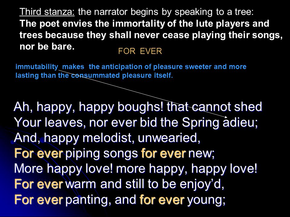 Third stanza: the narrator begins by speaking to a tree: The poet envies the immortality of the lute players and trees because they shall never cease playing their songs, nor be bare.