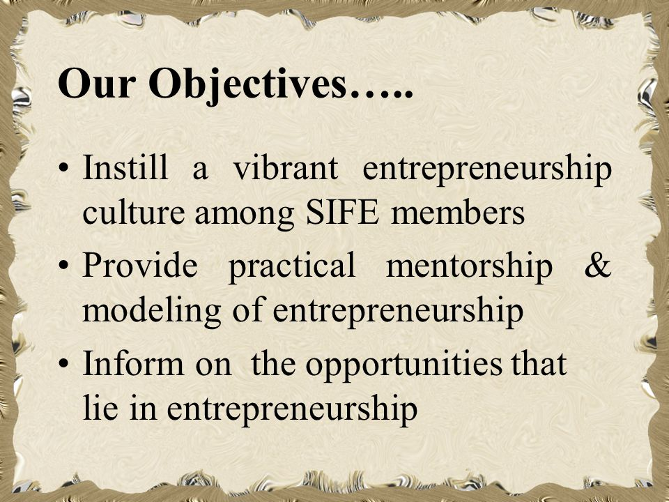 Our Objectives…..