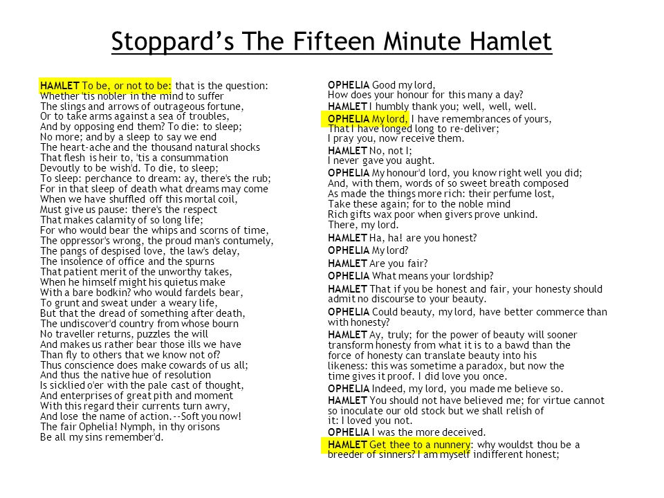 Nineteen-lecture software engineering (SE) Stoppards play is two complete tellings of Hamlet The play is 10 scenes in 13 minutes The encore is 21 lines in 2 minutes.