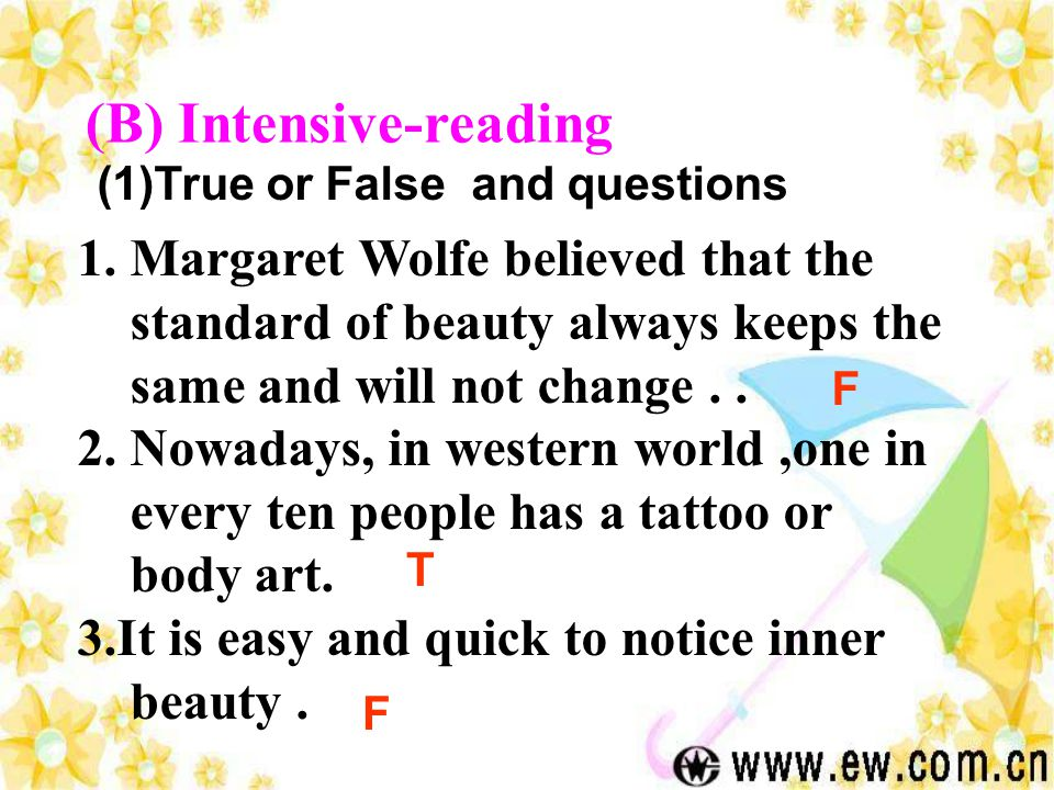 (B) Intensive-reading 1.Margaret Wolfe believed that the standard of beauty always keeps the same and will not change..