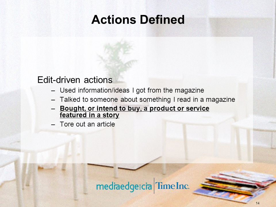 14 Actions Defined Edit-driven actions –Used information/ideas I got from the magazine –Talked to someone about something I read in a magazine –Bought, or intend to buy, a product or service featured in a story –Tore out an article