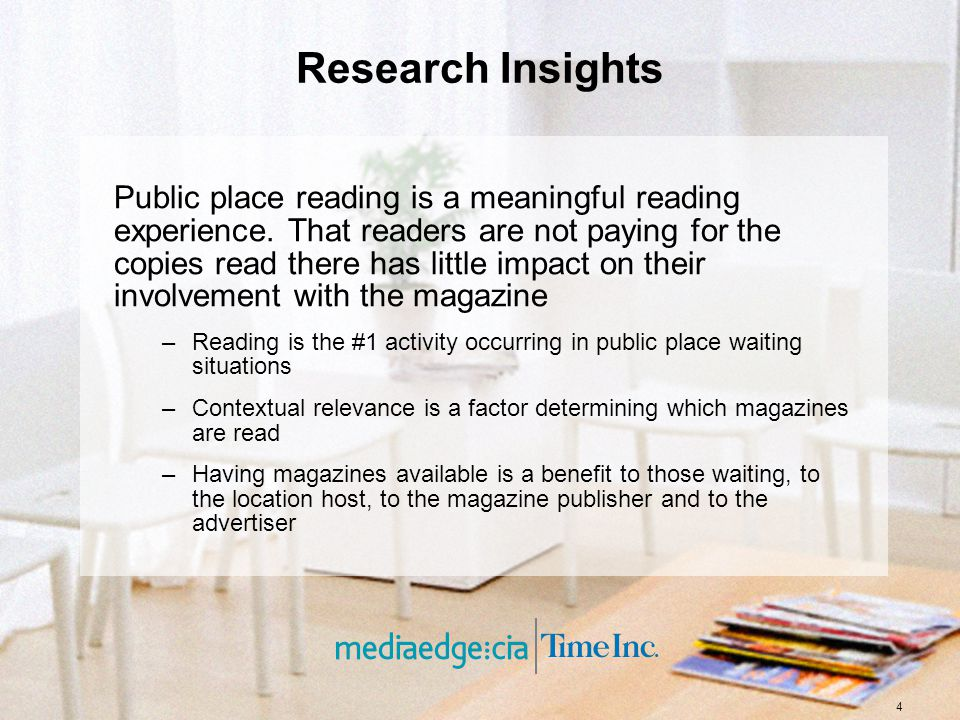 4 Research Insights Public place reading is a meaningful reading experience. That readers are not paying for the copies read there has little impact o